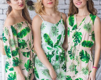Fun Tropics Mismatched Rompers By Silkandmore - Bridesmaids Gifts, Bridesmaids Rompers, Bridal Party Rompers, Getting Ready Rompers