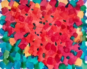 Red hearts, watercolour abstract art, colourful heart art, abstract love art, spring wall decor, modern art, 50x40 cm