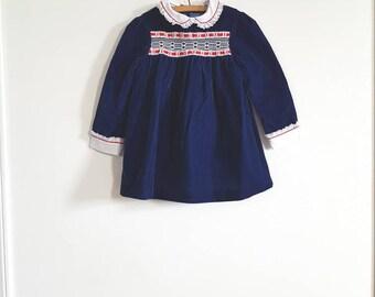 Vintage Navy Velveteen Dress