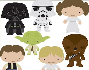 Star Heroes Clipart Set -Personal and Limited Commercial- Trooper, Princess, Wars clipart NO WEAPONS