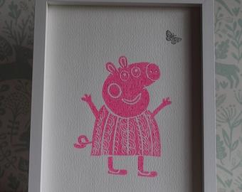 Lino Print -Limited Edition- A4 Linocut -Titled Pinky Peppa -relief print - pig print- linoleum print on acid free paper.