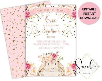 Bunny Invites Etsy - Bunny birthday invitation template