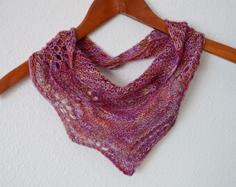 Spring Feverish 2 - Hand Knit Lace Wave Motif Kerchief - Mini Scarf/Triangle Scarf - Soft Wool, Copper Tone Button, Ready to Ship!