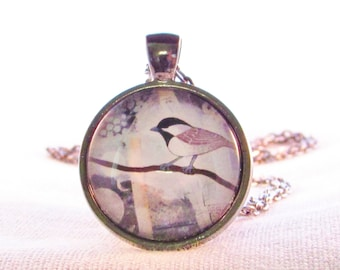 Chickadee Necklace - Nature Pendant - Bird Necklace - Birthday Gift for Her - Gift for Mom - Gift for Bird Lover - Woodland Necklace