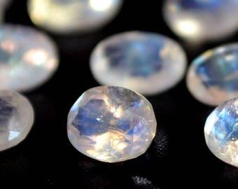 6x8 mm AA Rainbow Moonstone  oval  faceted  - Blue flash  Rainbow Moonstone