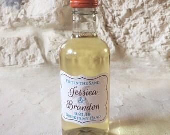 84 - 2.5 x 2 inch Die Cut Personalized Waterproof Mini Wine Bottle Labels - hundreds designs to choose WL142