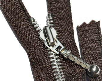 "12"" WHOLESALE YKK Fancy Zipper-  # 5 Aluminum Metal - with Foxtail Slider-Separating Brown~ZipperStop Wholesale Authorized Distributor YKK®"
