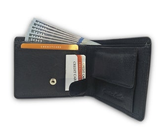 Genuine Buffalo Leather Black Leather Wallet for Men