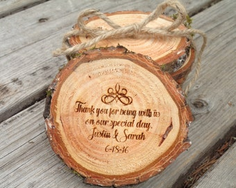 Wood Slice Wedding Favors, Rustic, Personalized, Country Wedding, Natural Wood, Engraved Wedding Favors, Wedding Thank You Gift