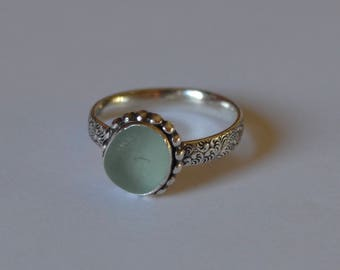 Sterling Silver Bezel Genuine Sea Glass Ring with Decorative Band