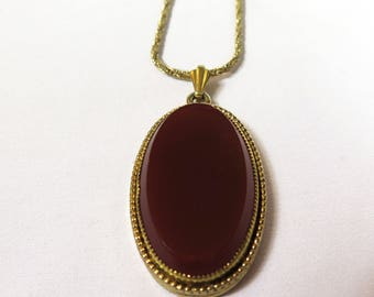 Vintage Whiting and Davis Vermillion Blood Red Necklace with Pendant, 1950s