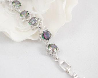 Mystic Topaz Star Bracelet, Star Bracelet, Sterling Silver Mystic Topaz Link Bracelet Mystic Topaz Jewelry Mystic Fire Topaz, Birthstone