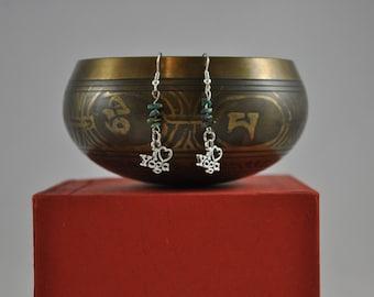 Yoga earrings, Yoga jewelry, I Love Yoga earrings, Turquoise earrings, Silver earrings, Dangle earrings