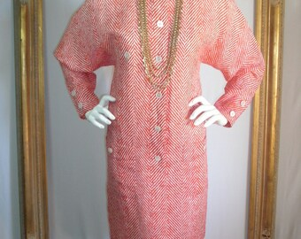 Vintage 1980's Adele Simpson Red & White Dress - Size Medium