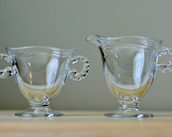 Vintage,Fostoria Coronet, Creamer and Sugar Bowl, Candlewick Design, Glass Creamer and Sugar