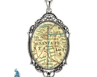 Vintage Map Necklace Oval Filigree Pendant City of Santa Fe New Mexico Antique Map Pendant State of NM Map Jewelry Destination Travel