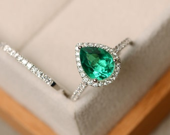 Emerald ring, engagement ring, pear cut ring, emerald