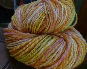 Handspun Yarn, Handspun art yarn, Hand Painted Yarn, Thick & Thin Yarn, 2 ply: MARIGOLD