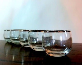 Silver Banded Roly Poly Set 1960s Five (5) Sterling Stripe Trimmed Lip Glasses Dorothy Thorpe Style Mid Century Barware Modern Glassware
