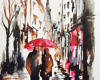 Romantic Paris Painting, Red Umbrella Original Watercolor, Travel Paris Art, Romantic Wanderlust, Romantic Bliss Collection by Lana Moes