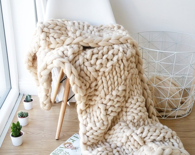 Featured listing image: DIY Knit Kit Extreme Knit Blanket Throw Merino Wool Blanket