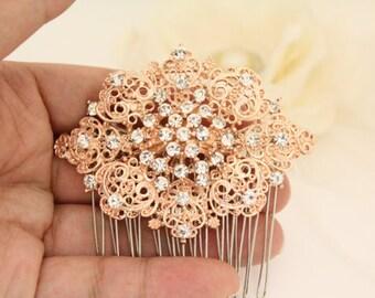 Wedding hair comb Rose gold,Bridal hair accessories,Wedding hair piece,Bridal hair comb Crystal,Wedding hair accessories,Bridal comb,Wedding