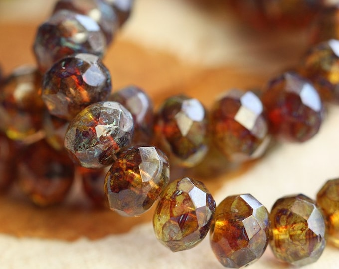 MELONGRITA .. 10 Premium Picasso Czech Glass Faceted Rondelle Beads 6x9mm (B105-10)