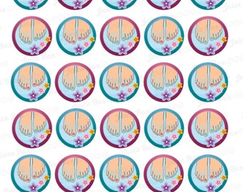 Set of 30 Foot Spa / Pedicure Stickers for Various Planners, Calendars, Journals