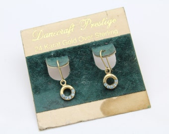 Vintage Tiny Dangle Earrings with Rhinestones in Gold Over Sterling Silver. [10303]