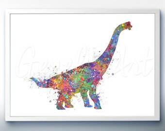 Dinosaur Brachiosaurus Watercolor Art Print - Dinosaur Watercolor Art Painting - House Warming Gift