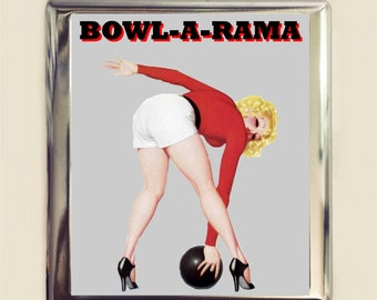 Retro african american pinup girl cigarette case business card bowling pin up cigarette case business card id holder bowl a rama pinup girl colourmoves Choice Image