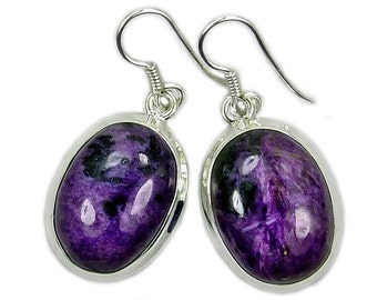 Charoite Earrings with Healing Properties Sterling Silver Dangle Earrings AE628 Jewelry Gift