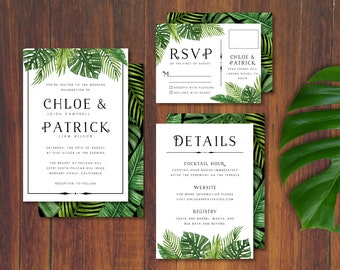 Tropical Jungle Greenery Wedding Invite Set With Banana and Palm Leaves