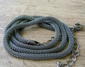Gunmetal Mesh Necklace, 3mm round, 18 inches to 20 long