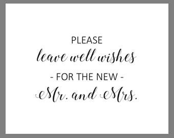 PRINTABLE 8x10 Please Leave Well Wishes for the New Mr. and Mrs. WEDDING SIGN