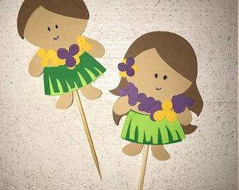 Hawaiian Luau Themed Cupcake Toppers Decorations Hula Girl Boy Moana