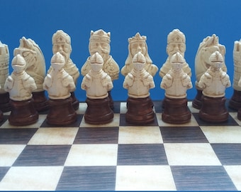 Pedestal type Medieval  chess set [ with Board ]--Rosewood / Ivory finishes