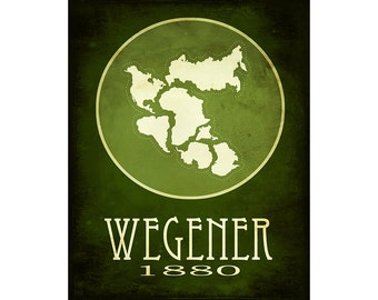 Science Poster for Geologist Alfred Wegener 11x14 Rock Star Scientist Art Print, Pangea Geology Gift, Pangaea Poster Science Illustration