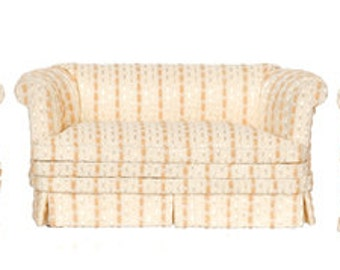 1:12 Scale Miniature Modern Tan Striped Sofa & Chair Collection