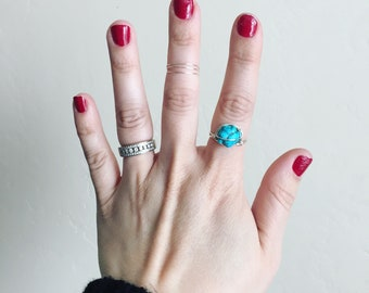 Turquoise stone silver plated wire wrapped ring