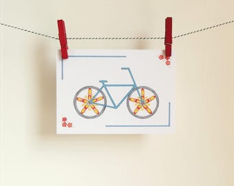 Card Bicycle - A6 Postcard - Blank Card - Just Because Card - Card Recycled Paper.