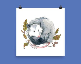 Possum and Oak Leaves Nature Art Print Unframed