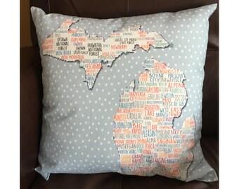 Michigan Cities Pillow in Light Blue