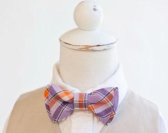 Bow Tie, Purple and Orange Organic Madras Plaid , Bow Ties, Boys Bow Ties, Baby Bow Ties, Bowtie, Bowties, Ring Bearer, Bow ties For Boys