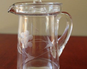 Etched Glass Carafe and Lid
