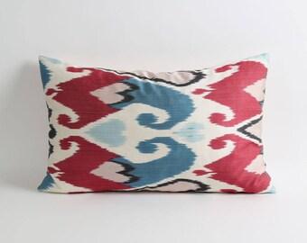 ikat pillow cover // silk pillow cover // handwoven & hand-dyed pillow // 16x24 decorative lumbar pillow