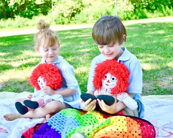 Vintage Raggedy Ann & Andy Dolls - Children's Literature Johnny Gruelle Boy and Girl Red Yarn Ragdoll Set Brother Sister Pair Handmade Toys