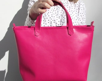 Pink leather handbag leather bag pink purse for women for girl Mother Days Gift