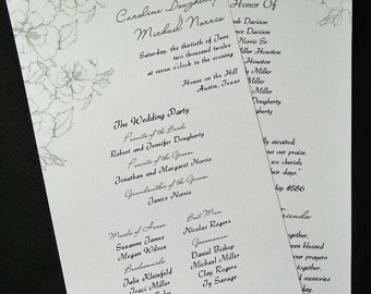 Floral Moss Green Wedding Program