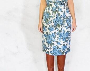 1950s Blue Rose Wiggle Dress Size Small